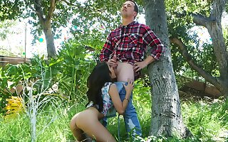 Outdoor fun in the forest for a young cock sucking princess