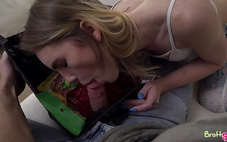 Libidinous babe Natalie Knight gives a blowjob to friend's stepbrother