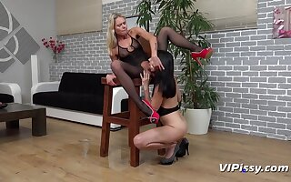 Claudia Macc together with Tiny Tina in HD Pissing Video Ready For Action  on tap Vipissy