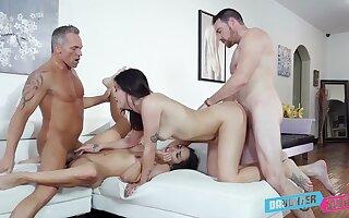 Addictive cam coitus in scenes of father-son foursome