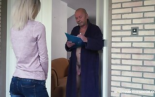 Crazy old fart gets to fuck a pretty young woman increased by that skirt is so beloved