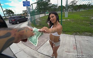 Insolent chick accepts cash for a few rounds of bang bus sex