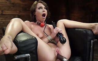 Lovely girl Emma Hix enjoys being fucked by rub-down the contraption