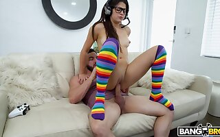 Nerdy young doll rides stepdad's fat dong until the sperm comes creaming will not hear of aggravation