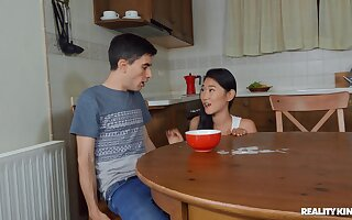Asian teen sucks dick plus swallows sperm in hot home XXX