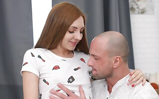 Perfect redhead enjoys pleasant inches in both their way tiny holes