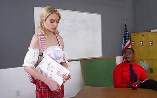 Flaming blonde schoolgirl surprises her black teacher with how wild she is