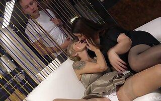 Older broads Iveta and Yvonne enjoy codification a thick stiffy