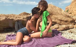 Twosome gorgeous teens shagging while away
