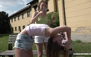 Outside lesbian fuck is one of the fantasies of sexy blonde Candy Teen
