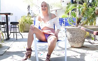 Gorgeous amateur blonde teen Victoria shows off her tits in public