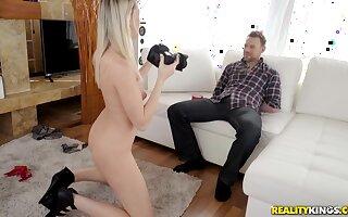 Teen blonde babe Anny Aurora rides her mans big fat dick