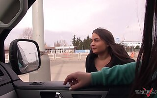 Brunette teen babe Anina gets her mouth filled with cum in a car