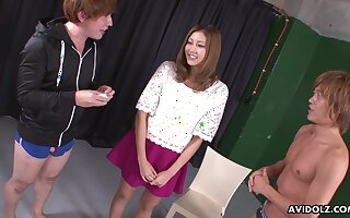Soaking slit of Jap nympho Julia Shinozaki is teased with vibe together with fucked mish