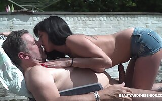 Pretty young chick living nextdoor shows perky tits up old neighbor