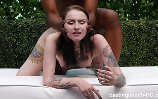 Handsome chick Jenna with tattoos having wild interracial sex