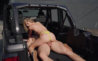 Fucked in the back be fitting of the Jeep check tick off she throats the big dong