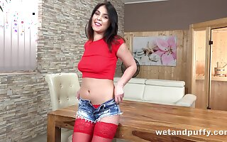 Meditate catching beautiful brunette babe Teana desires to tease will not hear of wet pussy