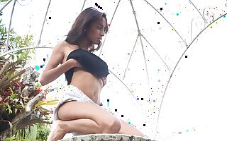 Libidinous babe yon tiny ass plus put some life into nipples Agatha is posing outdoor