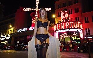 Hypnotizing Russian beauty Maria Rya is walking around the city in sexy underthings plus stockings